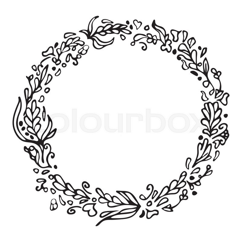 leaf doodle wreath vintage round frame isolated on white space for