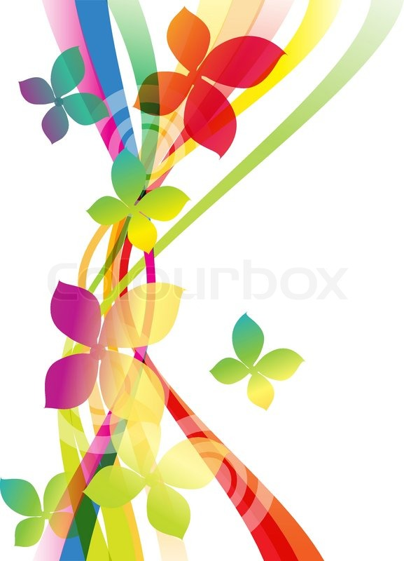 vector rainbow colored background with flowers for design
