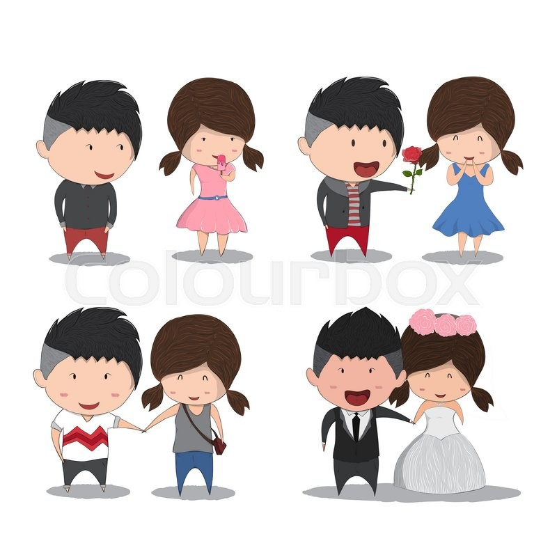 Set Character Cute Cartoon Wedding Couples, Cute Valentineu0027s Day Card,  Drawing By Hand Vector And Digital Illustration Created Without Reference  Image.