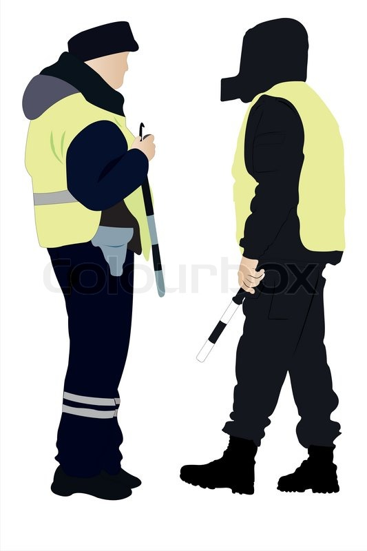 Vector Illustration Of Policeman And Security Officer