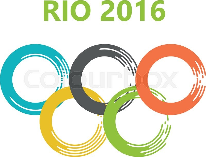 Olympic Circles Of Paint Strokes Rio 2016 Brazil Colors And Flag Games In De Janeiro Rings Vector Illustration