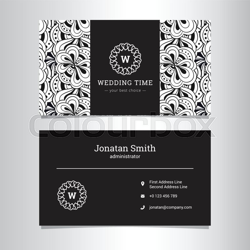 Vector Elegant Wedding Agency Business Card Template With Flowers - Wedding business card template