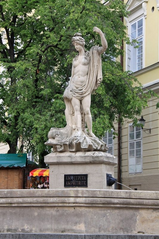 Ancient statue of Aphrodite on the center square of Lviv ...