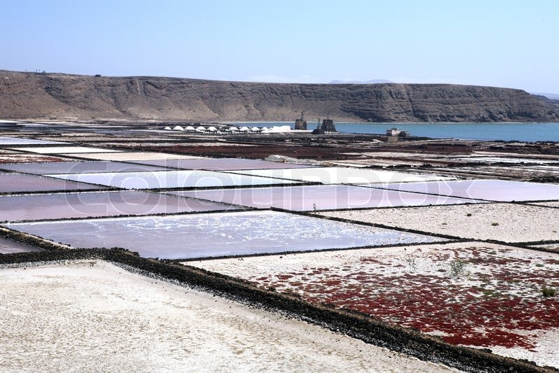 Salt pans. Lanzarote, Canary Islands, Spain. | Stock Photo ...