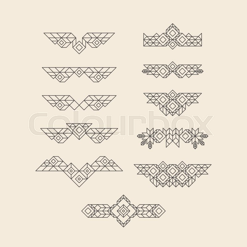 Set of vintage graphic elements for design line art design for set of vintage graphic elements for design line art design for invitations posters linear element geometric style lineart vector illustration stopboris Image collections