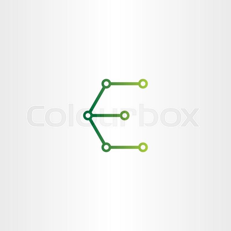 letter e logo electronics circuit icon vector symbol