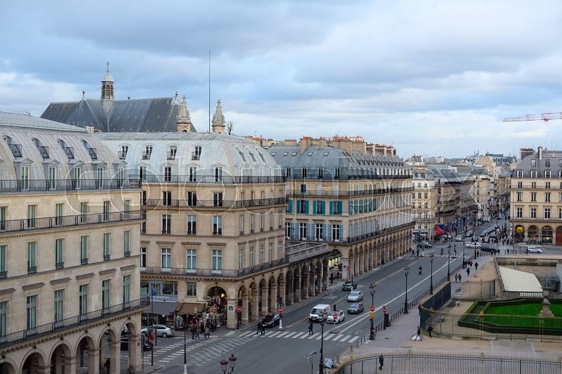 Paris, France, February 10, 2016: view from Luvre to a street in a center of Paris, France, stock photo