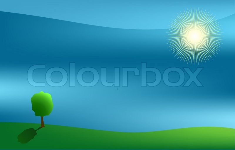 Vector landscape with sun and tree, vector