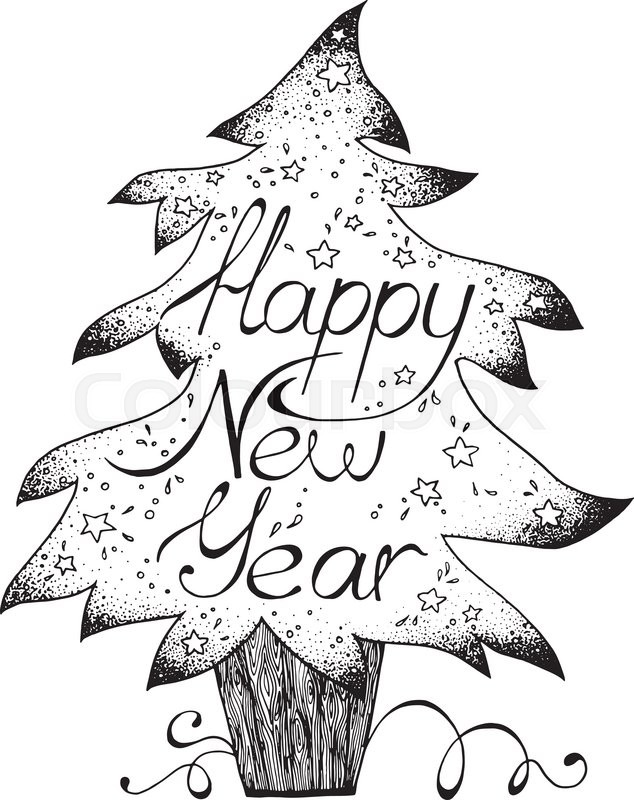 Hand-drawn greetings card Happy New Year, black and white graphic ...