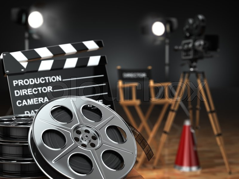 Video movie cinema concept. Retro camera reels clapperboard and director chair. 3d | Stock Photo | Colourbox & Video movie cinema concept. Retro camera reels clapperboard and director chair. 3d | Stock Photo | Colourbox
