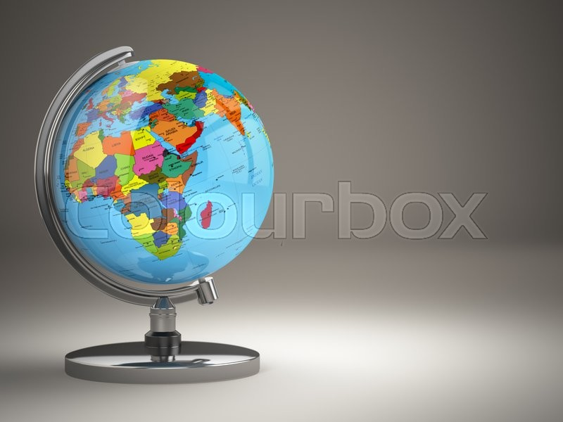 Stock image of 'Globe with political map on grey background. 3d'