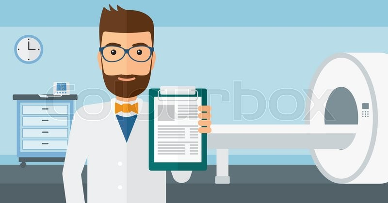 A doctor holding medical notepad on     | Stock vector