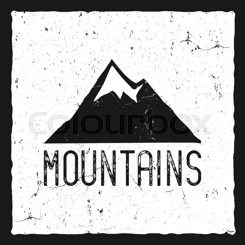 Hand drawn mountain poster. Wilderness old style typography label ...