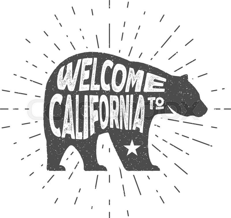 Vintage California Republic bear with       Stock vector