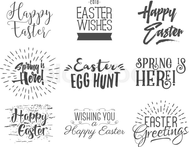 Easter wishes overlays, lettering labels design set. Retro holiday easter badges. Handdrawn emblem with ribbon. Isolated. Religious holiday sign or logo. Easter photo overlays design for web, print, vector