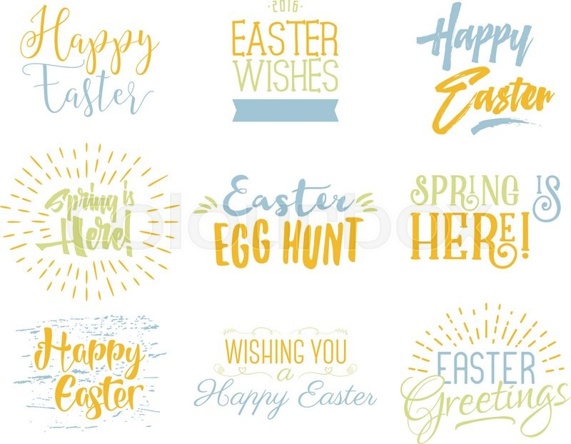 Easter wishes overlays, lettering labels design set. Holiday easter badges. Hand drawn emblems. Isolated. Religious holiday sign or logo. Easter photo overlays design for web, print. Pastel Palette, vector