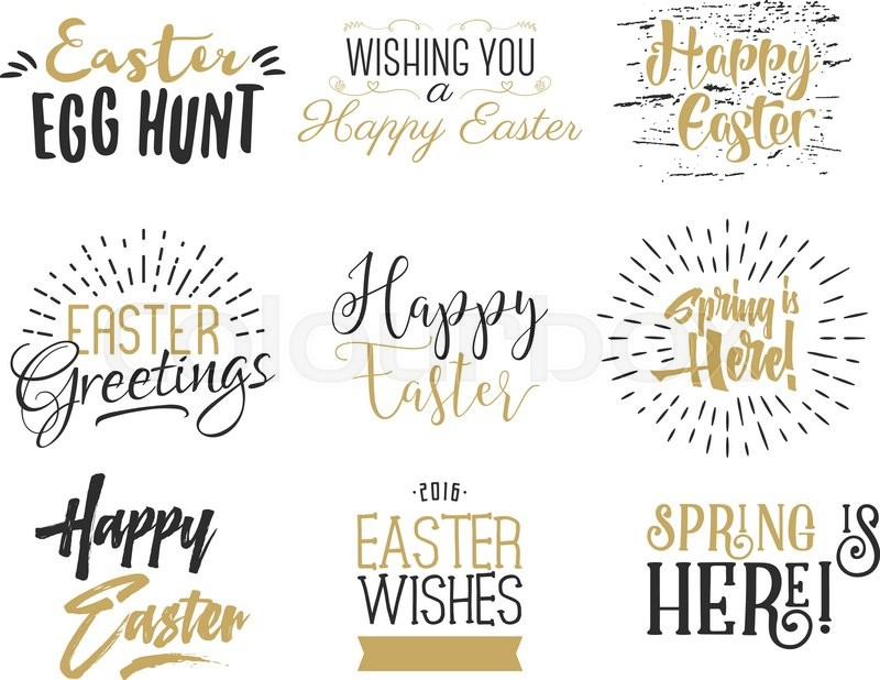 Easter wishes overlays, lettering labels design set. Retro holiday easter badges. Hand drawn emblem with ribbon. Isolated. Religious holiday sign or logo. Easter photo overlays design for web, print, vector