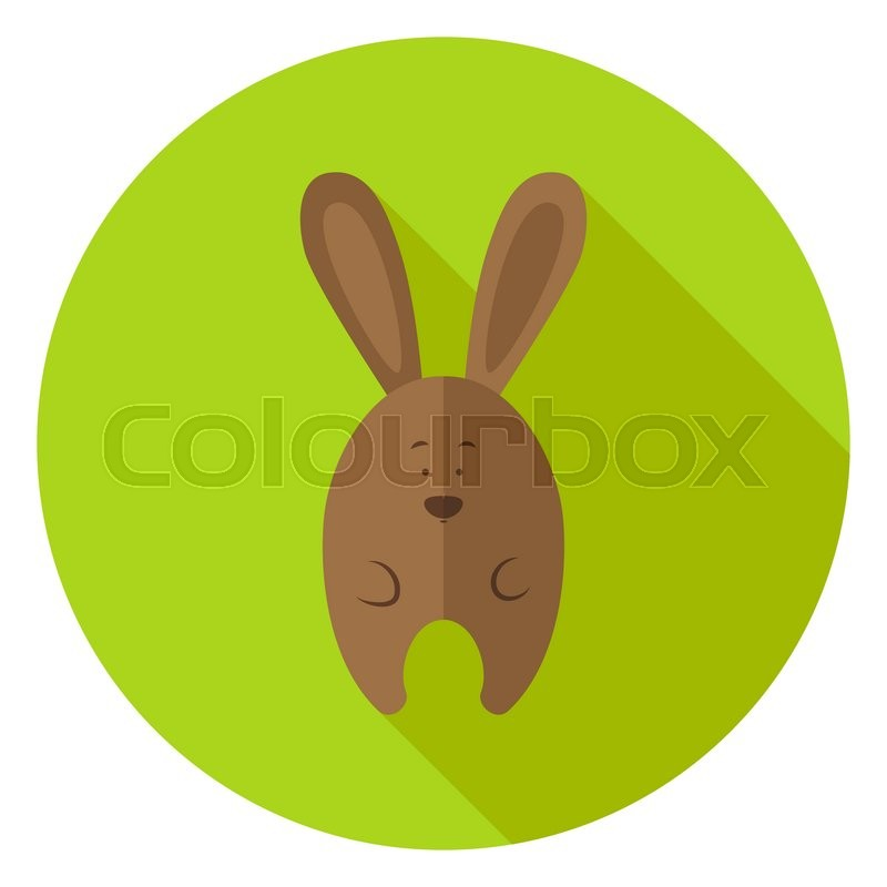 Easter Bunny Circle Icon Flat Design Vector Illustration With Long