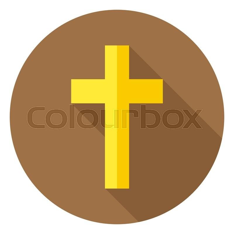 The Christian Cross Circle Icon Flat Design Vector Illustration