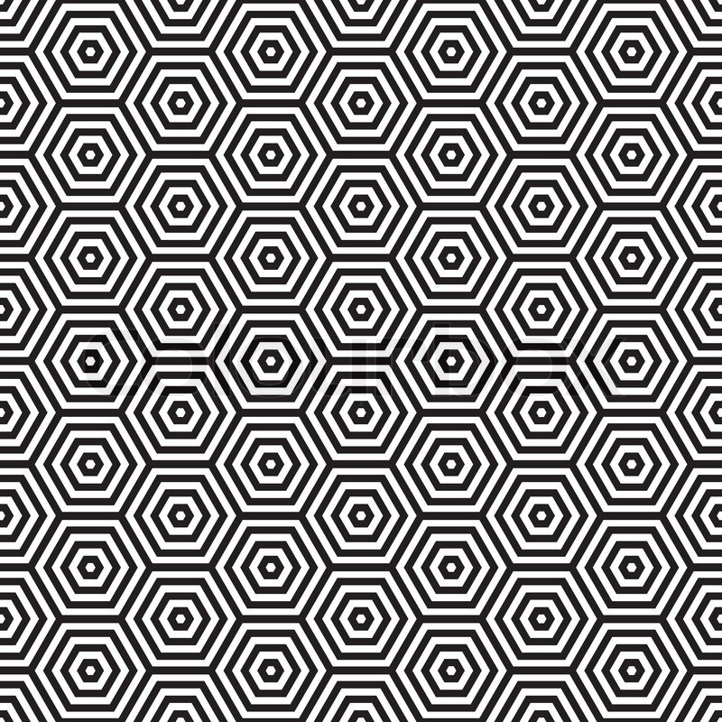 siebziger inspiriert sechseck nahtlose muster hintergrund in schwarz und wei vektorgrafik. Black Bedroom Furniture Sets. Home Design Ideas