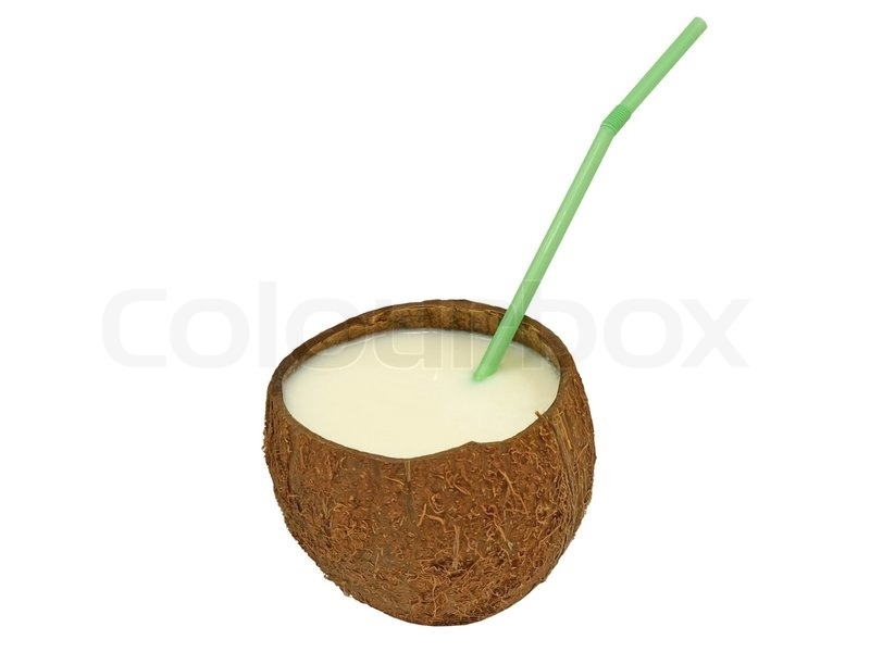 Coconut With A Milk Shake And Green Cocktail Straw Isolated On White Background