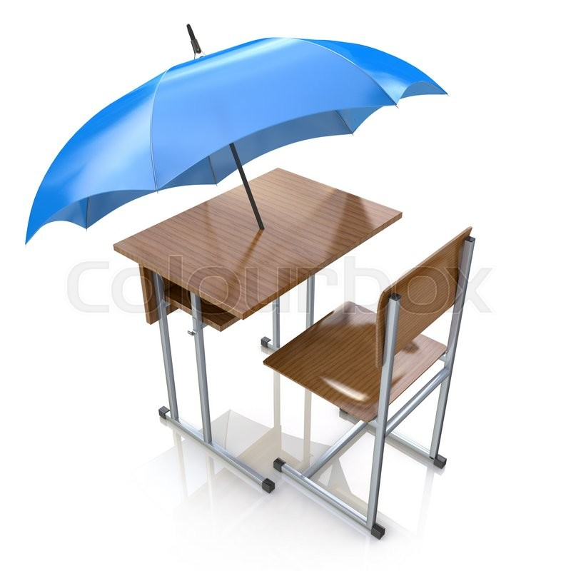 education protection and teaching shelter for literacy and learning as a generic school desk with an umbrella as a symbol for protecting and providing - School Desk Design