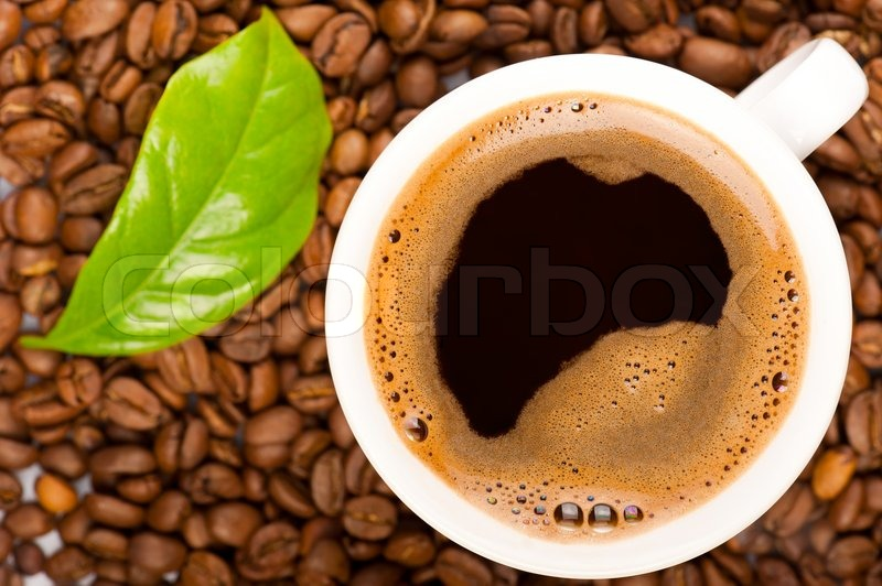 Cup of coffee and coffee beans with green leaf of coffee plant. Focus on cup, stock photo
