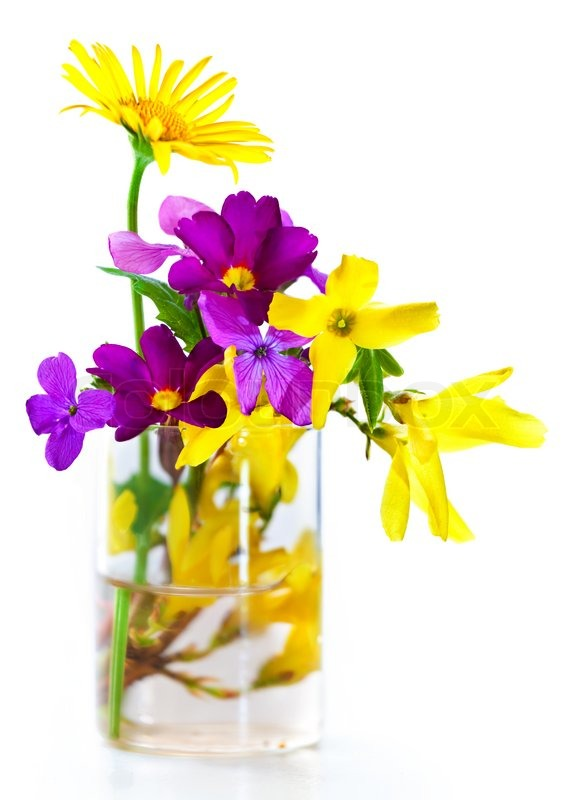 Spring flower bouquet isolated over white background | Stock Photo ...