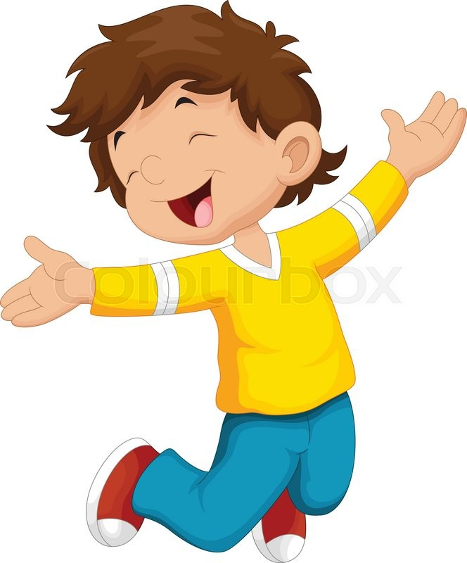 vector illustration of happy boy and stock vector