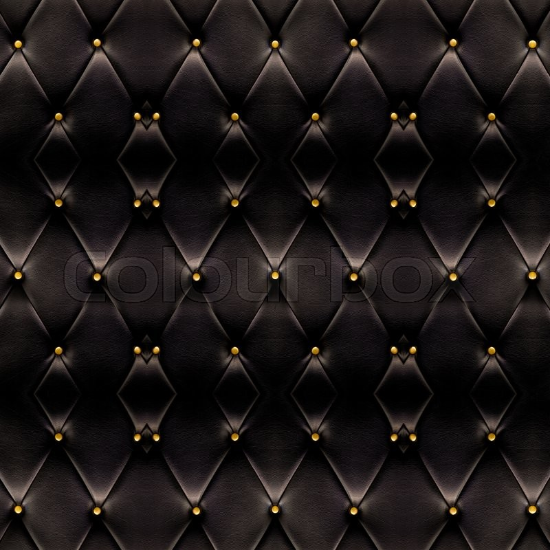 Texture Of Beautiful Black Leather Sofa With Golden