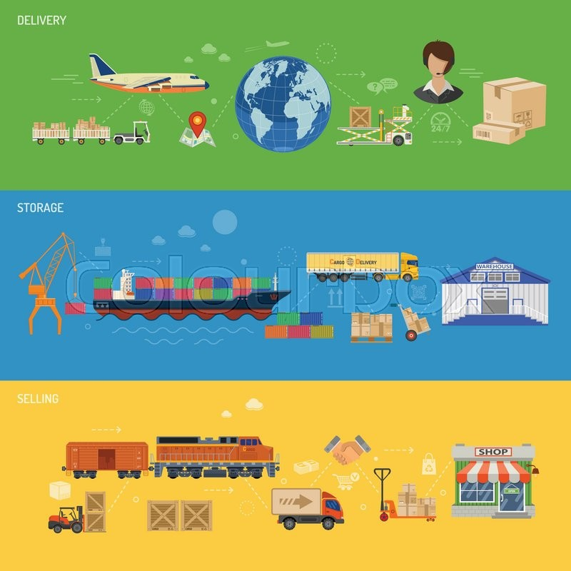 Stock Vector Of U0027Delivery, Storage, Logistics And Selling Banners With  Cargo Ship,
