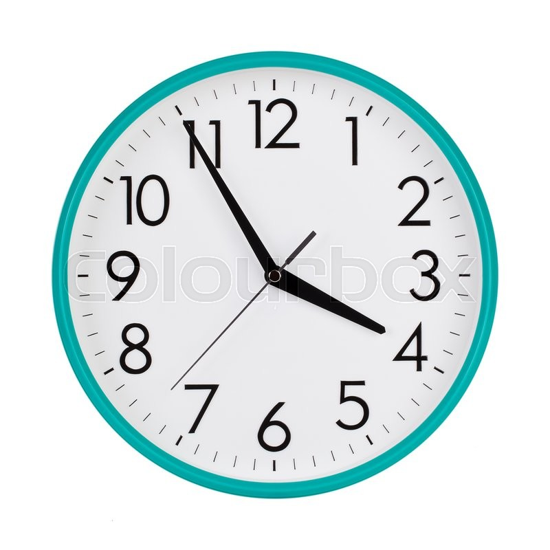 Five To Four On A Round Clock Face Stock Photo Colourbox
