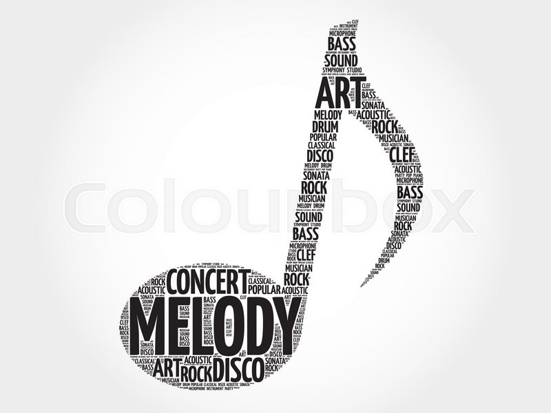 Music Note Word Cloud Melody Concept Stock Vector Colourbox