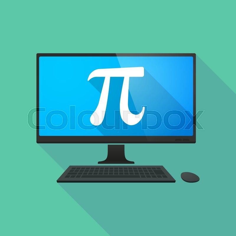 Long Shadow Personal Computer With The Number Pi Symbol Stock