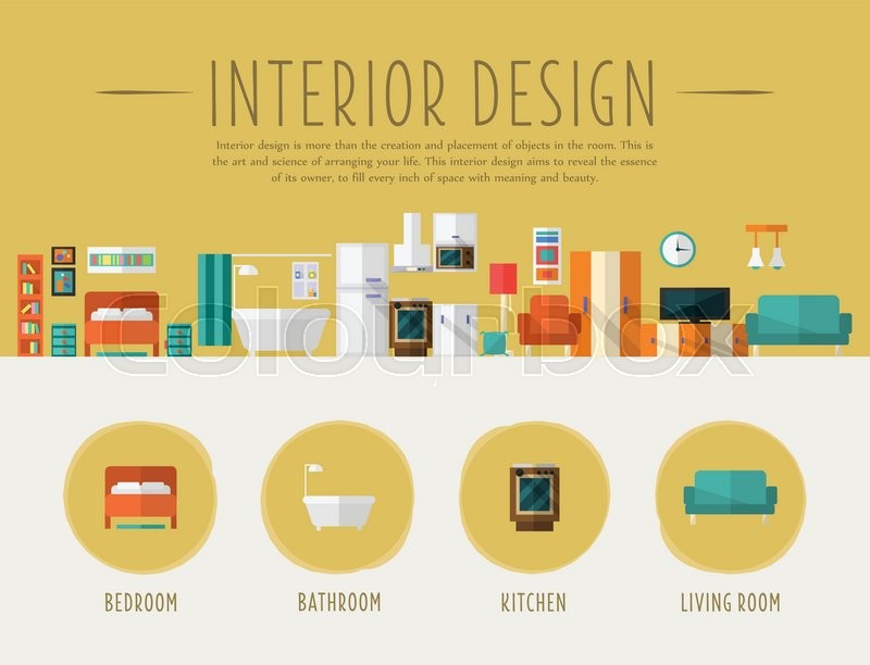 Interior Design. Flat Style Vector Illustration. Design for the web site, first page  Stock