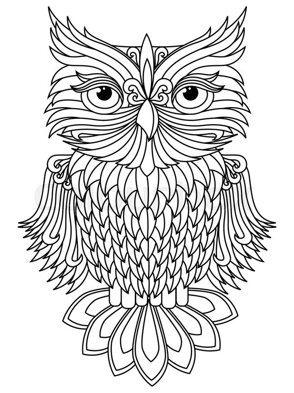 Amusing big owl black outline isolated on the white background cartoon vector artwork stock vector colourbox