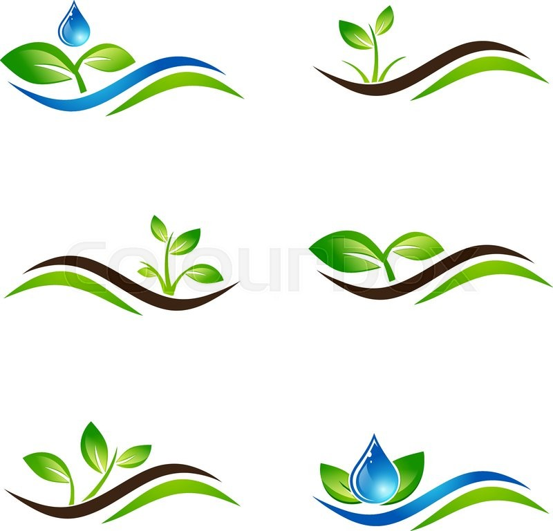 Water And Ecology Logo: Green Sprout Landscape Agricultural Icon Or Logo Design