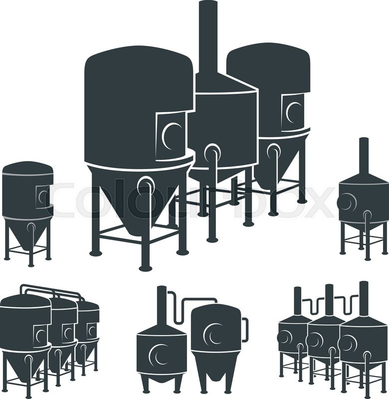 Set With Beer Brewery Elements Icons Logos Design