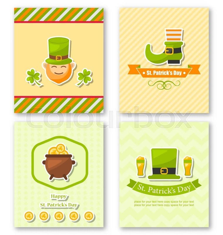 Illustration set greeting posters with traditional symbols for Irish mail cart plans