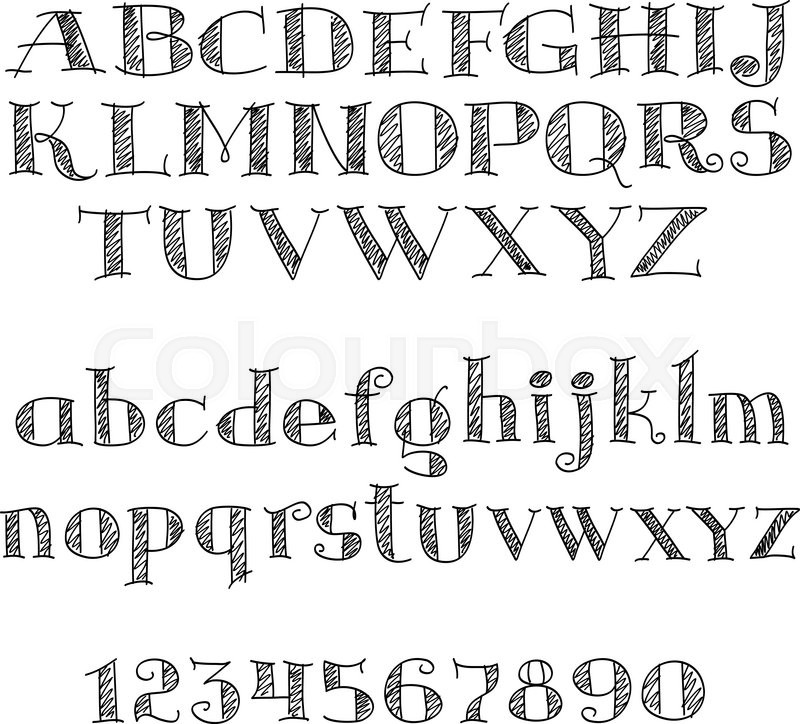Alphabet Letters Font With Decorative Cross Hatched And Numbers Of Serif Nice For Education Typography Page Decoration