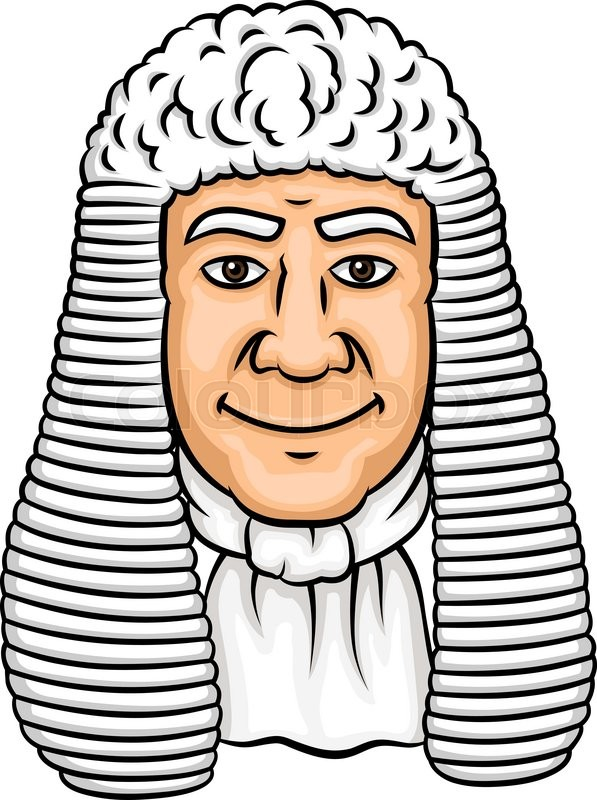 Cartoon old judge in white wig and collar. Law profession ...