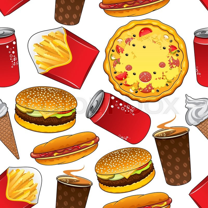 Fast Food Colorful Cartoon Background Design With Seamless