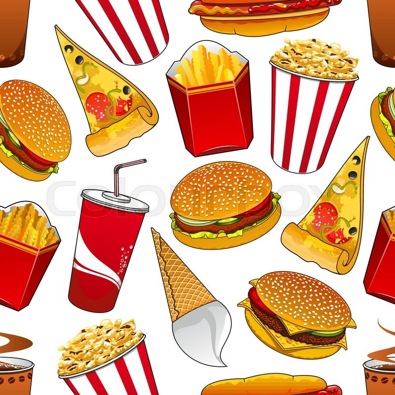 fast food dinner seamless pattern with hamburgers thin slices of