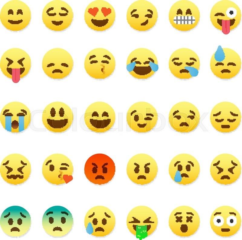 Set Of Cute Smiley Emoticons Emoji Flat Design Vector Illustration