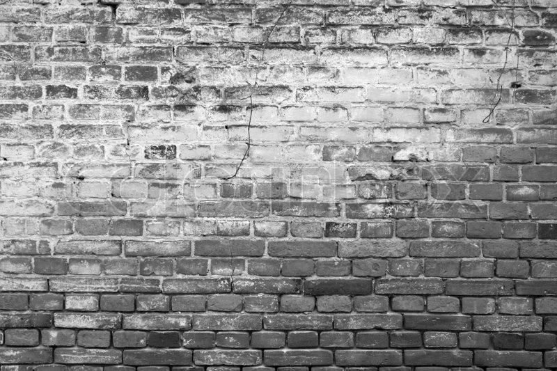 Ancient brickwall background black white stock photo