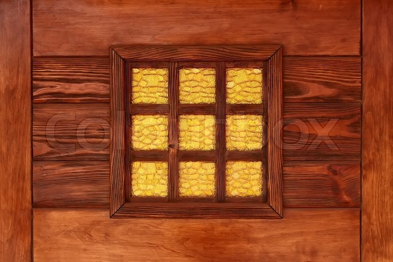Stock Image Of Yellow Decorative Stained Gl Window In The Reddish Lacquered Wooden Frame