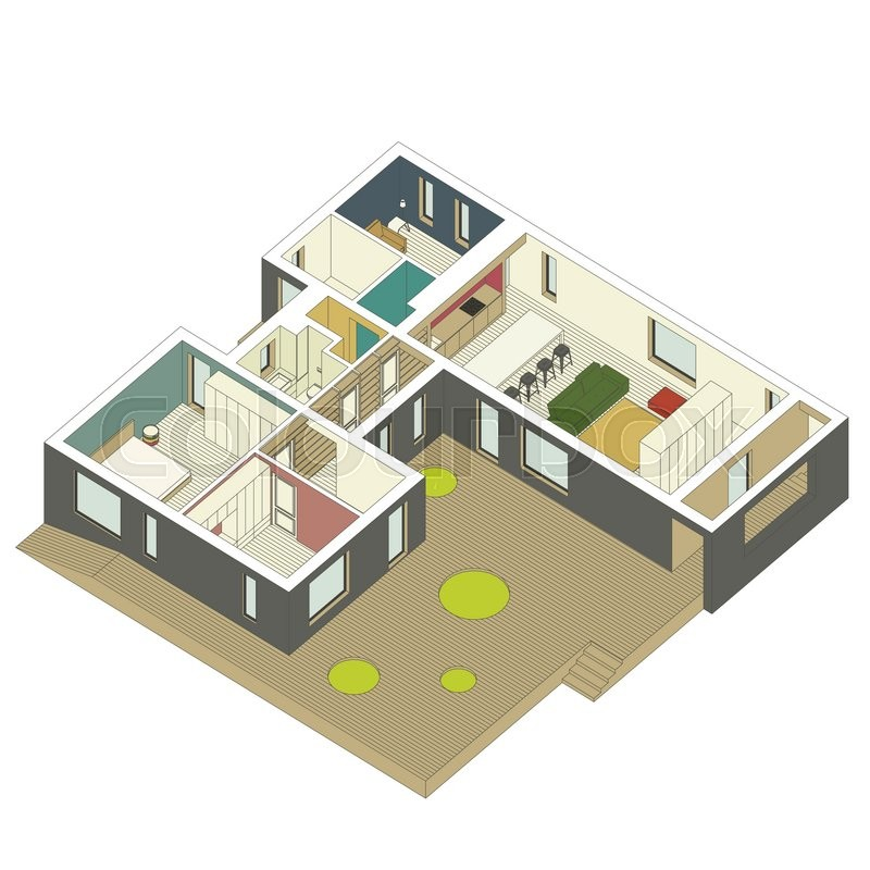 3d Floor Plan Isometric: Isometric View Of The House Inside. Vector Illustration