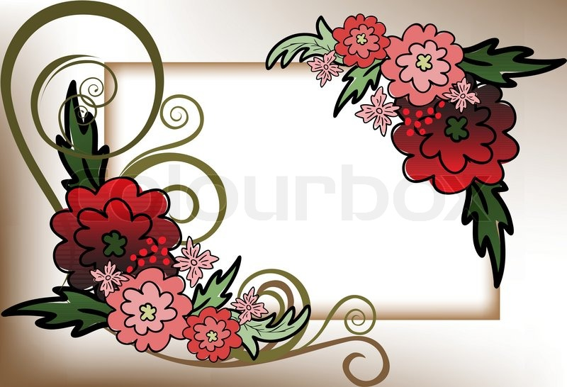 Beautiful frame of the red flower composition | Stock Vector | Colourbox