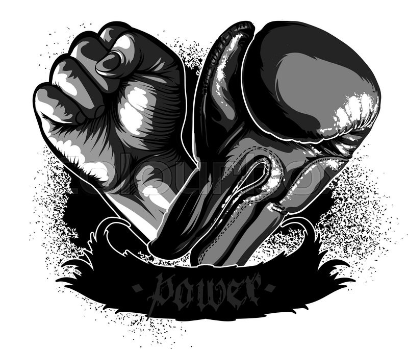 Fist And Boxing Glove On A White Background As A Symbol Of Power