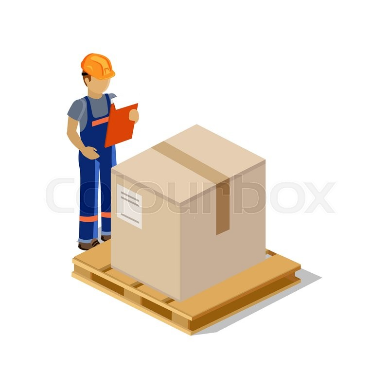 isometric man delivery of goods isolated design 3d delivery man